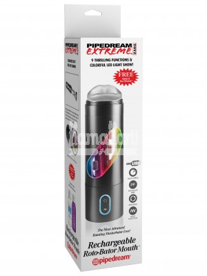 Pipedream - Extreme Rechargeable Roto-Bator Mouth Masturbator (Black)