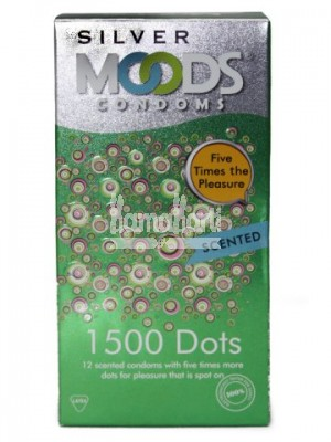 Moods Silver Condoms 1500 Dots Scented 12's