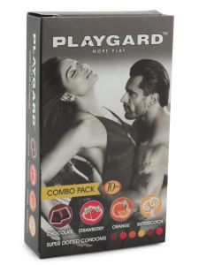 Playgard Mixed Flavour Combo Super Dotted Condoms - 10's Pack