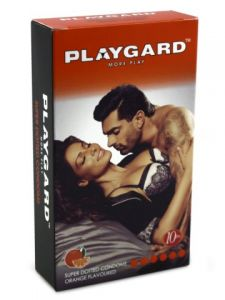 Playgard Orange Flavoured Super Dotted Condoms - 10's Pack
