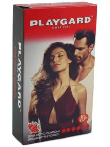 Playgard Strawberry Flavoured Super Dotted Condoms - 10's Pack